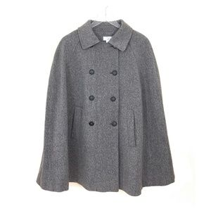Ann Taylor LOFT Wool Blend Tweed Poncho Cape Coat